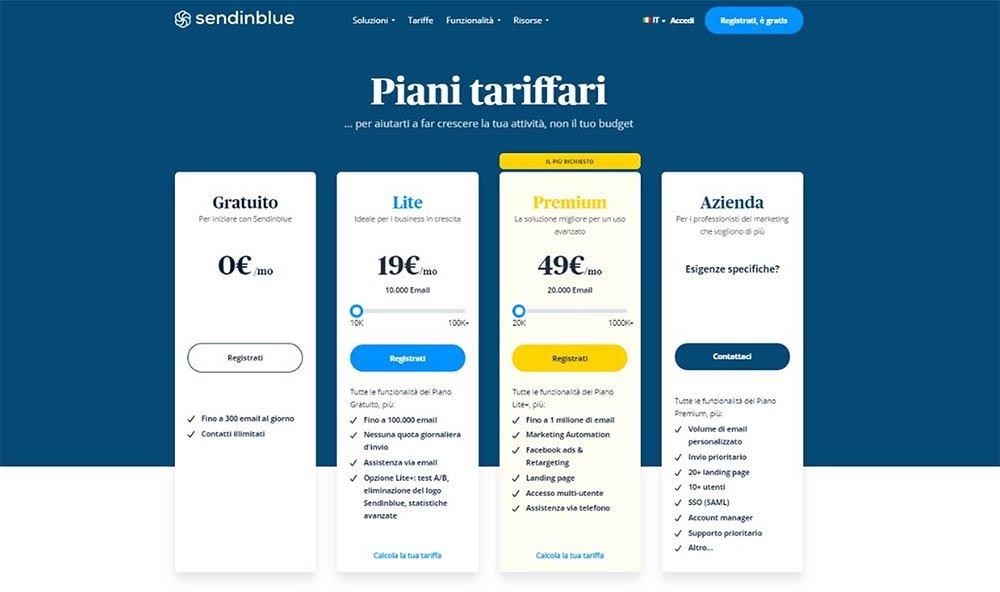Piattaforma newsletter gratis sendinblue