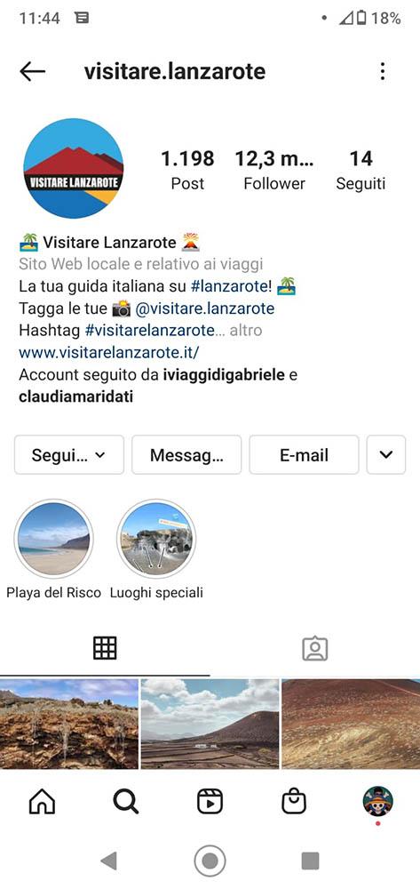 esempio account instagram di successo - Visitare Lanzarote