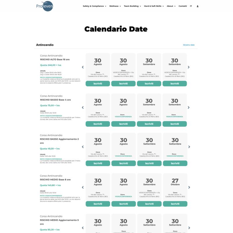 Realizzazione sito web proleven schermata 5