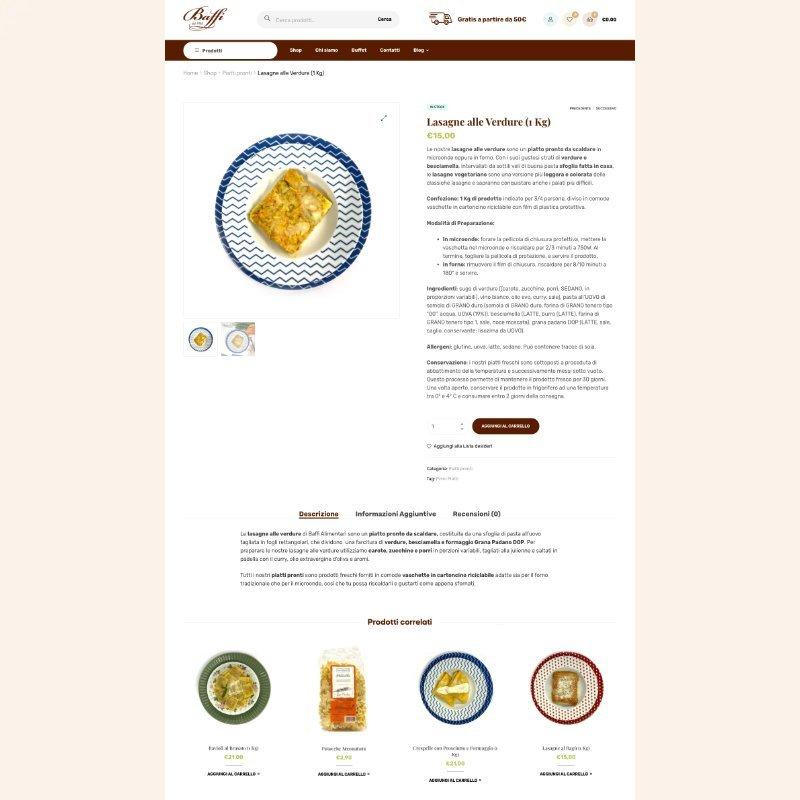 Sito web scheda prodotto Baffi Alimentari