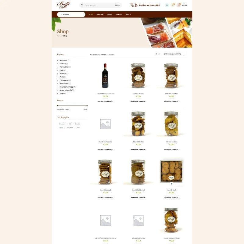 sito web ecommerce baffi alimentari